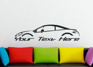 Large Custom car silhouette wall sticker - for Mitsubishi Eclipse 4G  , GT SE coupe (w/ lip spoiler)